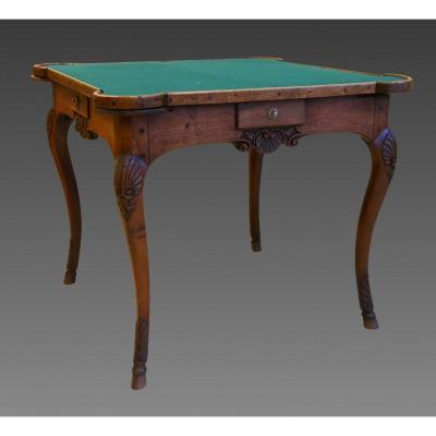 Table à Jeu Noyer Lyon Epoque Régence.
