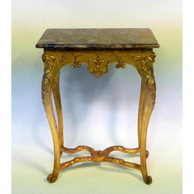 Table Console Bois Dore Epoque Régence