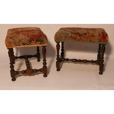 Pair Of Walnut Stools Shot In Baluster L. XIV