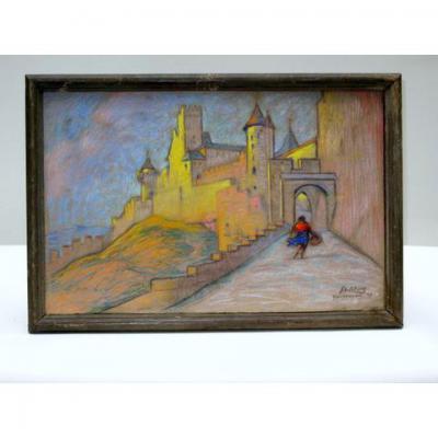 Vue sur Les Remparts de Carcassonne, Pastel De R Deletang
