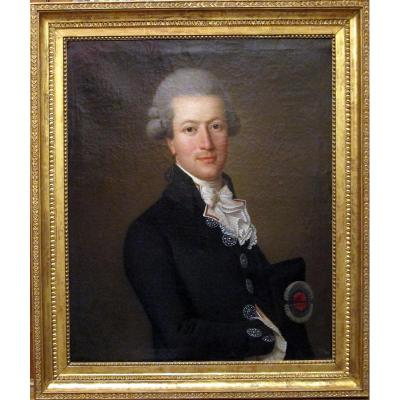 Portrait Huile Sur Toile Signée Wertmüller - Bordeaux 1789