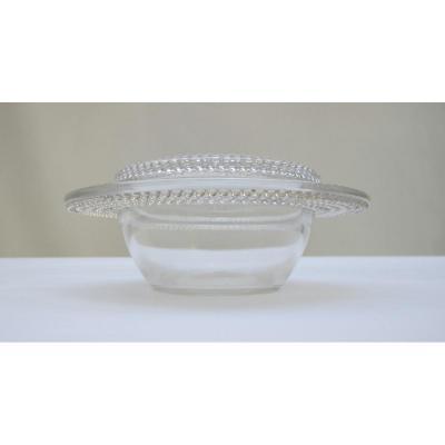 Coupe à Couvercle En verre souflé Lalique Modèle Nippon