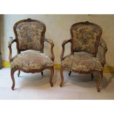 paire de fauteuils estampill nogaret epoque louis xv. Black Bedroom Furniture Sets. Home Design Ideas