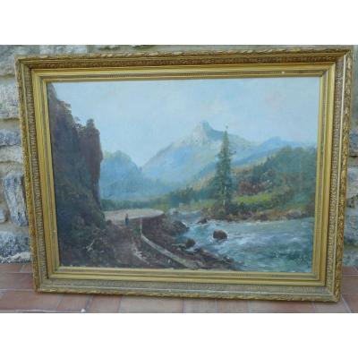 Grand Paysage d'Une Route Dans Les Pyrénées Huile Sur Toile Signée  Alfred Godchaux(1835/1895)