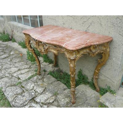 Console En Bois Sculpté Et Doré époque Louis XV
