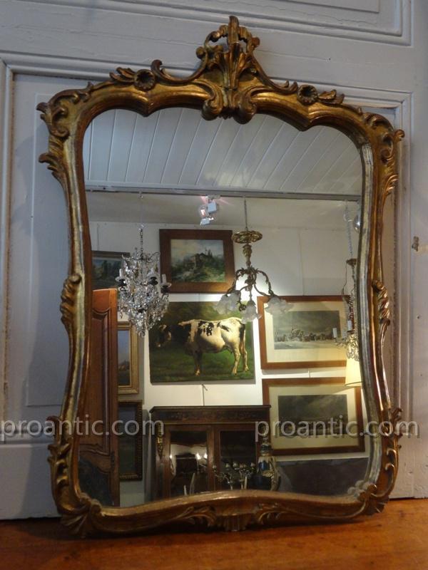 Miroir De Style Louis XV Rocaile En Bois Doré