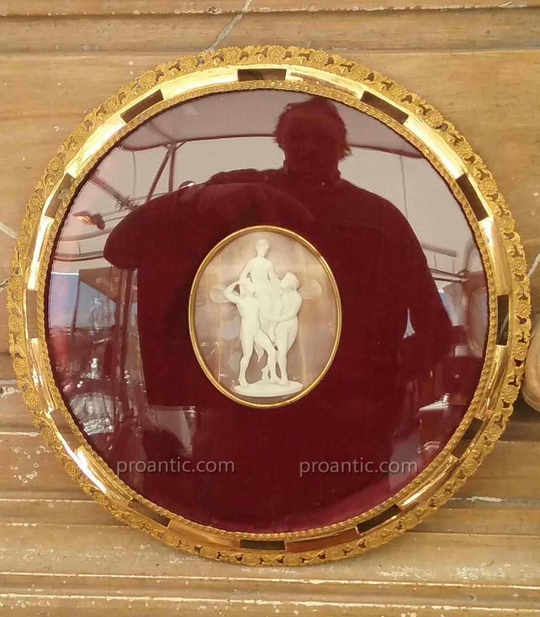 Napoleon III Cameo In A Frame In Pompone XIX Century