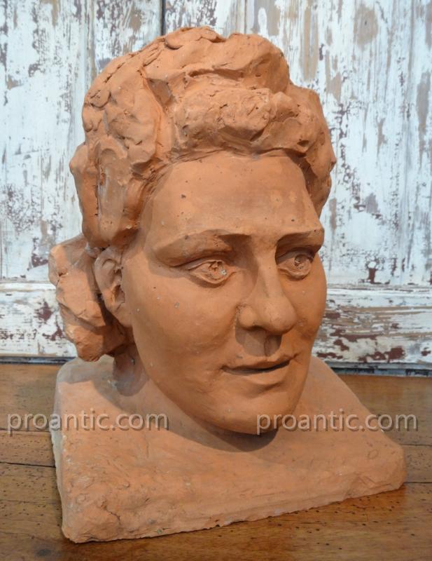 """Bust Terracotta """"vevette"""" Around 1940"""