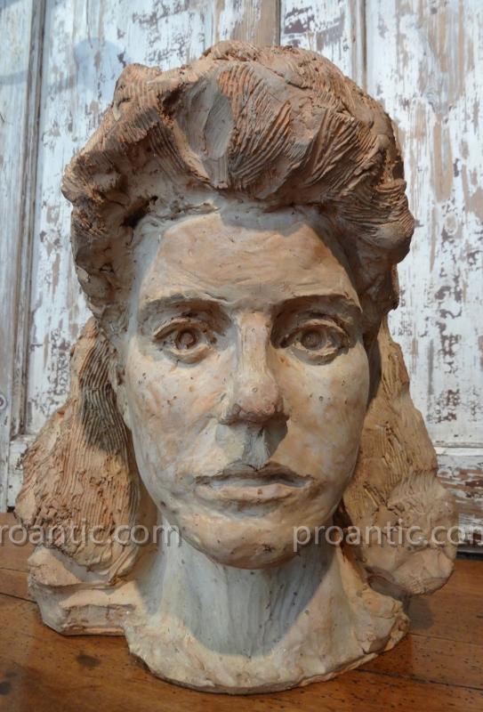 Buste Femme En Terre Cuite Vers 1940