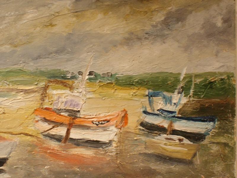Marine Oil On Canvas Signed Jo Lazou