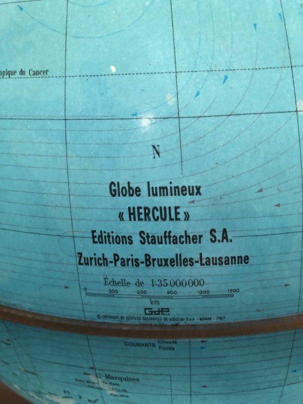"""globe terrestre lumineux """" Hercule"""" Edition Stauffacher-photo-1"""