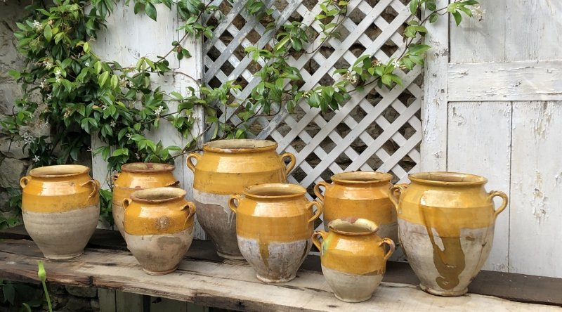 Eight Candied Jars In Glazed Earth Landes XIXth Century