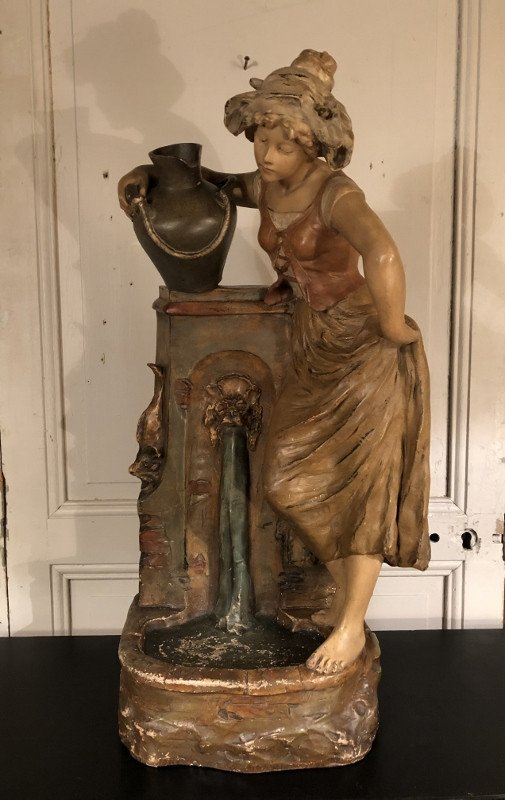 Young Woman At The Fountain In Polychrome Plaster Around 1900