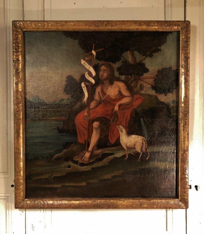 """Oil On Canvas """"saint Jean Baptiste"""" XVII ° Century"""