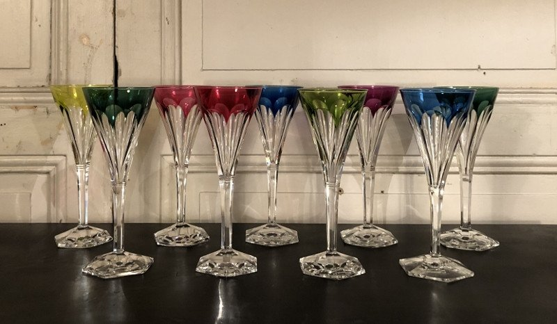 Suite De Neuf Roemer, Rhinestone Wine Glasses In Color Cut Crystal