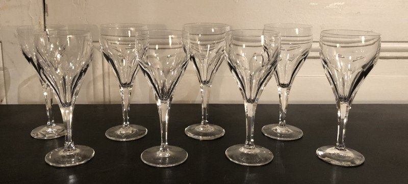 Suite Of 8 Crystal Wine Glasses Bristol Model From Saint Louis
