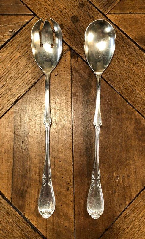 Paire De Grands Couverts à Salade De Style Louis XV -photo-5
