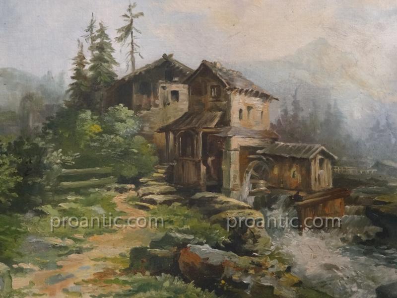 """Huile Sur Toile """"moulin En Montagne"""" Signé Paul Clarin"""