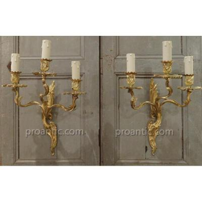 Pair Of Louis XV Style Sconces Gilt Bronze