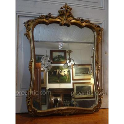 Louis XV Style Mirror In Golden Wood Rocaile