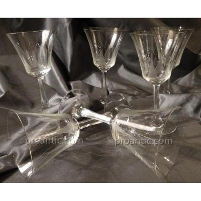 Set Of 6 Water Glasses Crystal Style Art-deco