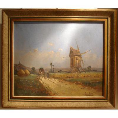 """Oil On Canvas """"wind Mill"""" Albert Hirtz"""