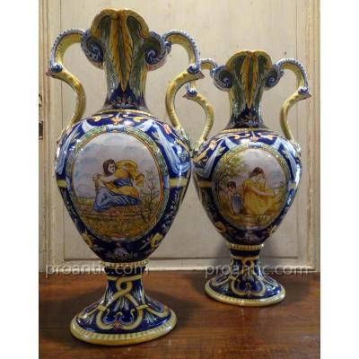 Paire De Vases Style Renaissance En Faïence Alfred Renoleau