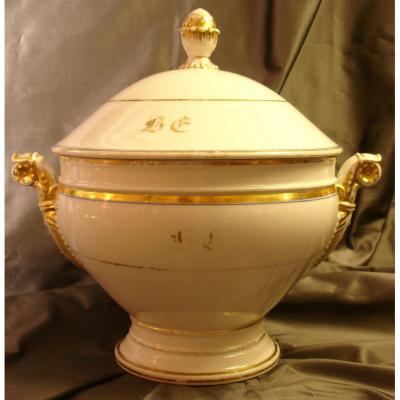Round Porcelain Soup Tureen In Paris, XIX Siecle