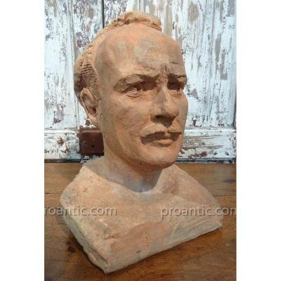Man's Bust In Terracotta 1942