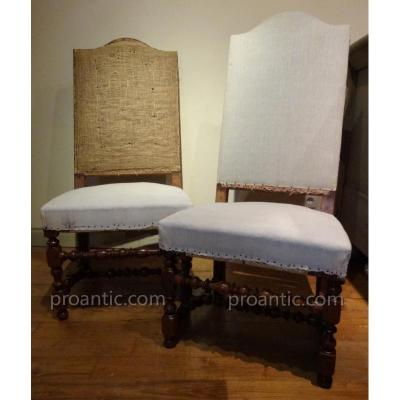Two Louis XIV Chairs In Walnut XVIII Century