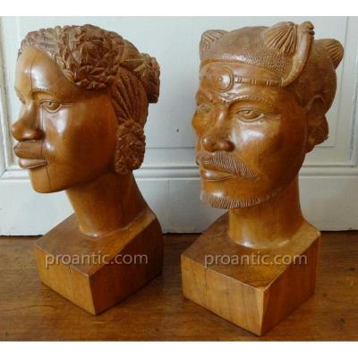 Pair Of Busts From Madagascar