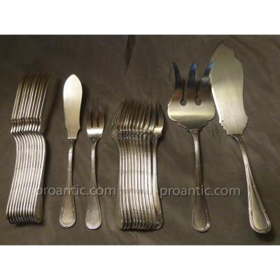 12 Louis XVI Style Fish Cutlery With Crossed Ribbons