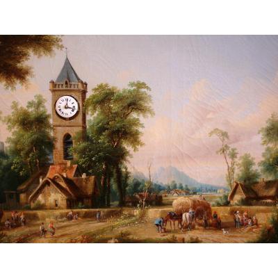 Tableau Horloge Musical, Scène Champetre, XIX° Siecle