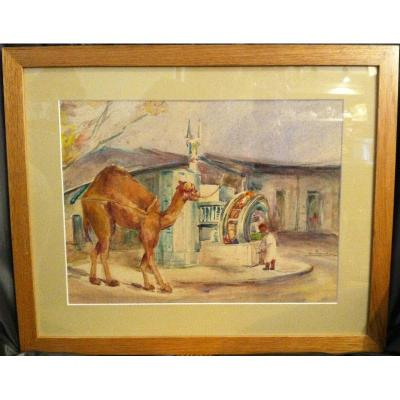 Pair Of Watercolor  Orientalist Signed By L. Faucheur