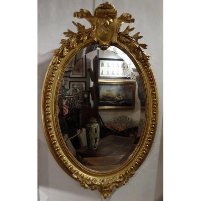 Miroir Médaillon Napolèon III En Bois Et Stuc Doré