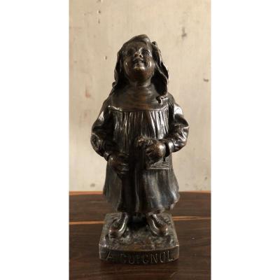 """Girl """"a Guignol"""" Patinated Bronze Circa 1900"""