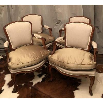 Suite Four Louis XV Armchairs In Cabriolet
