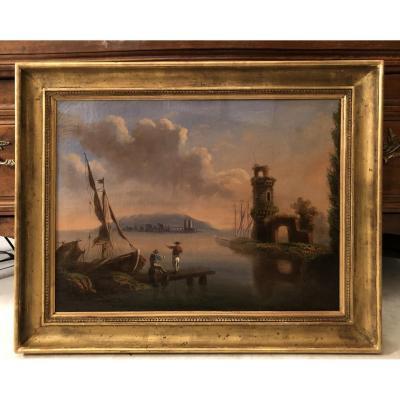 "Oil On Canvas ""landscape Lacustre"" Signed Texier 74"
