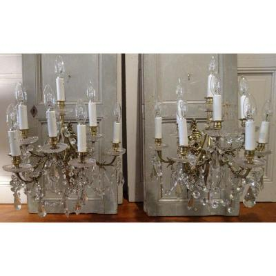 Pair Of Napoleon III Sconces With Eight Arms Of Light