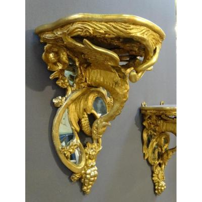 Pair Of XIXth Century Dragons Consoles In Golden Wood And Mirrors