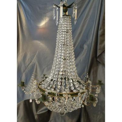 Directoire Style Hot Air Balloon Chandelier In Painted Sheet Metal, Glass And Crystal