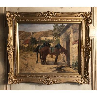 """Accolade de chevaux"" signé G. Calves huile sur toile"