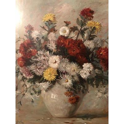 Bouquet Of Dahlias, Chrysanthemums, Daisies In A Vase