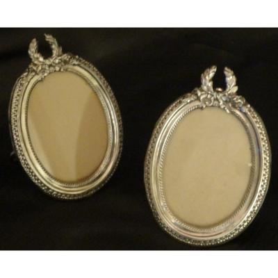 Pair Of Medallion Frames In Sterling Silver Hallmark Minerves
