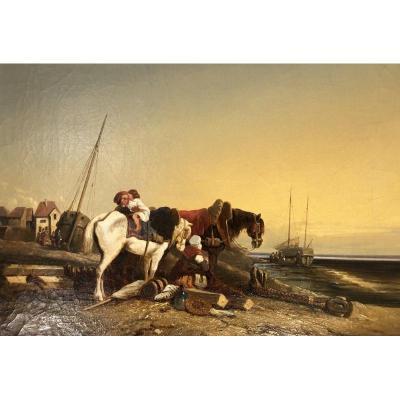 """horses On The Beach"" Dutch School XIX"