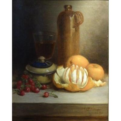 Still Life With Orange Signed J. Delanoy 1890