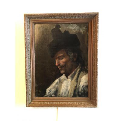 """Huils Sur Toile """"Homme  Au Chapeau"""" Italie XIX° siècle"""