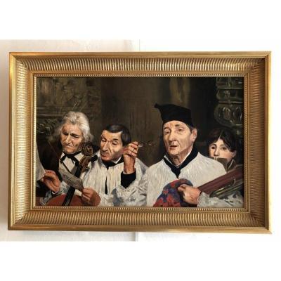 """""""Répétition Musicale"""" signée R.Olivier et datée 1890"""