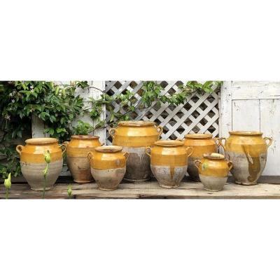Huit Pots à Confit En Terre Vernissée Des Landes XIX° Siècle