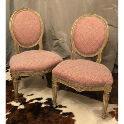 Pair Of Chairs Medallion Louis XVI XVIIIth Century